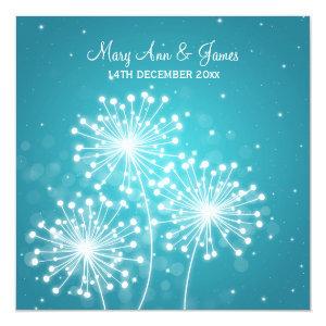 Elegant Wedding Summer Sparkle Turquoise 5.25x5.25 Square Paper Invitation Card