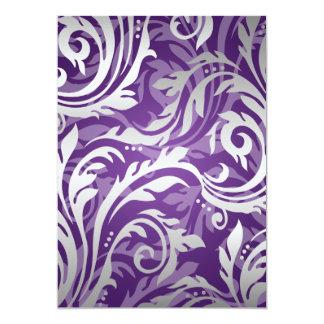 Elegant Wedding Swirly Flourish Purple 5x7 Paper Invitation Card