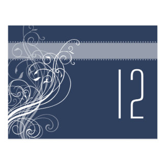Elegant Wedding Table Number - navy Postcard