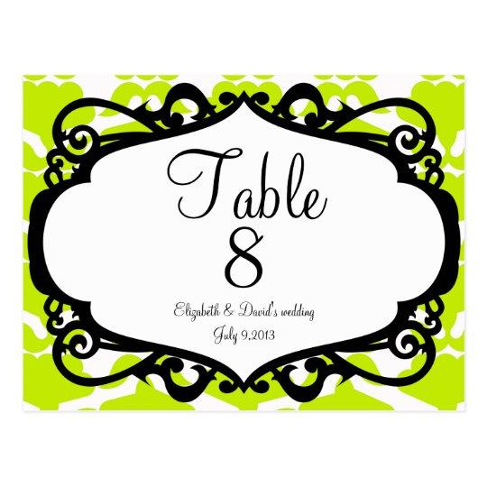 Elegant wedding table number postcard