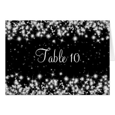 Elegant Wedding Table Number Winter Sparkle Black card