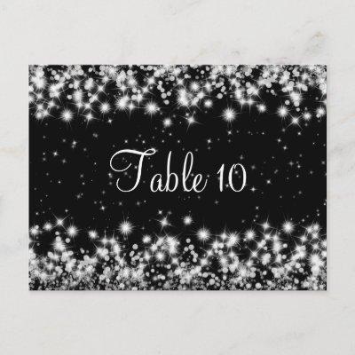 Elegant Wedding Table Number Winter Sparkle Black postcard