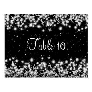 Elegant Wedding Table Number Winter Sparkle Black Post Card