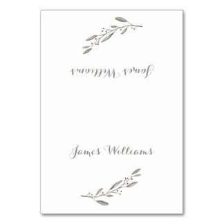Elegant Wedding Table Place Cards Grey Floral