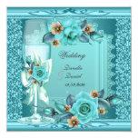 Elegant Wedding Teal Blue Beige Roses Flowers Card