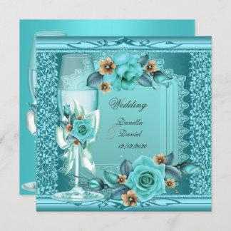 Elegant Wedding Teal Blue Beige Roses Flowers Invitation