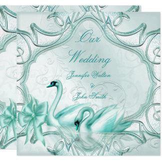 Elegant Wedding Teal Blue Swans Bow Invitation
