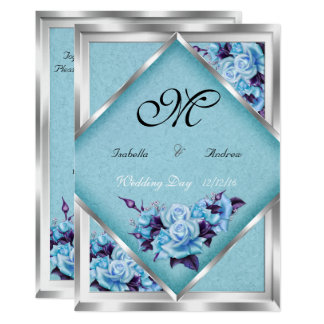 Elegant Wedding Teal Purple Roses Silver Bouquet 2 Invitation