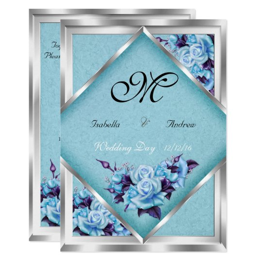 Glamorous Wedding Invitations: Elegant Wedding Teal Purple Roses Silver Bouquet 2