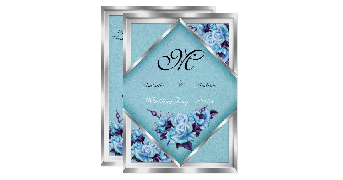 Purple Rose Wedding Invitations: Elegant Wedding Teal Purple Roses Silver Bouquet 2