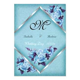 Elegant Wedding Teal Purple Roses Silver Bouquet a Card
