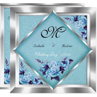 Elegant Wedding Teal Purple Roses Silver Bouquet Invitation