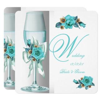 Elegant Wedding Teal White Beige Rose Champagne Invitation