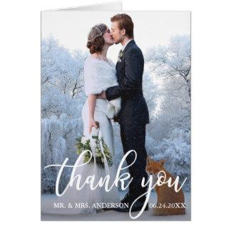 Elegant Wedding Thank You Bride Groom Photo Note Card