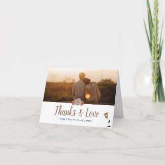 Elegant Wedding Thank You Card, Peach and Teal Card