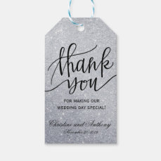 Elegant Wedding Thank You Favor Tags Silver Lights