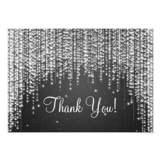 Elegant Wedding Thank You Note Night Dazzle Black Card