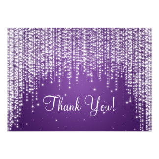 Elegant Wedding Thank You Note Night Dazzle Purple Announcements