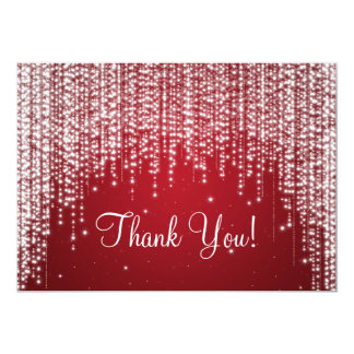 Elegant Wedding Thank You Note Night Dazzle Red Card