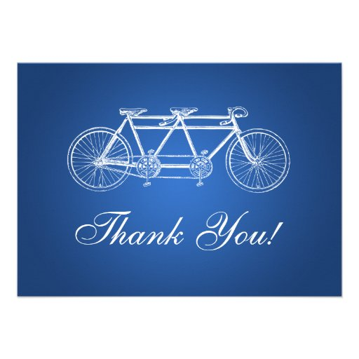 Elegant Wedding Thank You Note Tandem Bike Blue Invitations