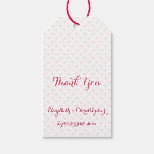 Elegant Wedding Thank You Pink Hearts Favor Hang Gift Tags
