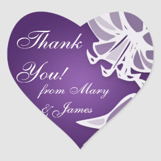 "Elegant Wedding ""Thank you"" Purple Lily Bouquet Heart Sticker"