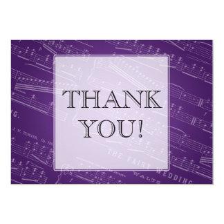 Elegant Wedding Thank You Sheet Music Purple Card