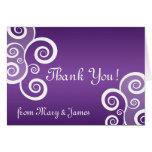 Elegant Wedding Thank You White Swirls Purple Card