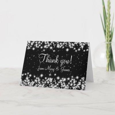 Elegant Wedding Thank You Winter Sparkle Black card