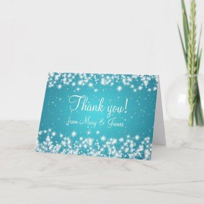 Elegant Wedding Thank You Winter Sparkle Blue card