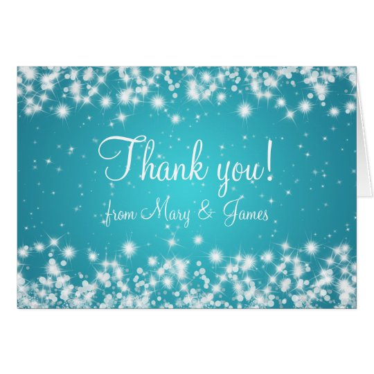 Elegant Wedding Thank You Winter Sparkle Blue Card