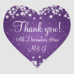 Elegant Wedding Thank You Winter Sparkle Purple Heart Sticker