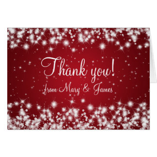 Elegant Wedding Thank You Winter Sparkle Red Card