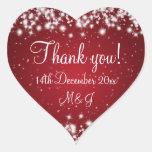 Elegant Wedding Thank You Winter Sparkle Red Heart Sticker