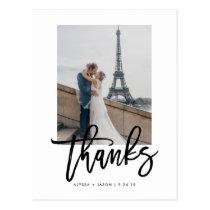 Elegant Wedding Thank You with Photo Postcard