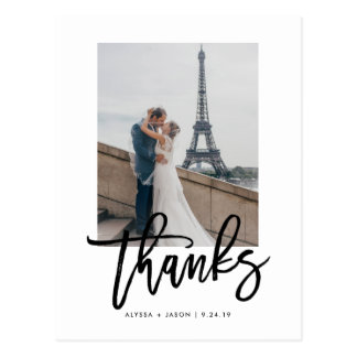 Elegant Wedding Thank You with Photo Postcard