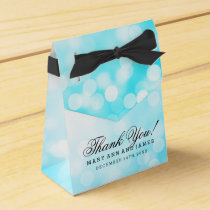 Elegant Wedding Turquoise Glitter Lights Favor Box