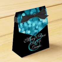 Elegant Wedding Turquoise Lights Favor Box