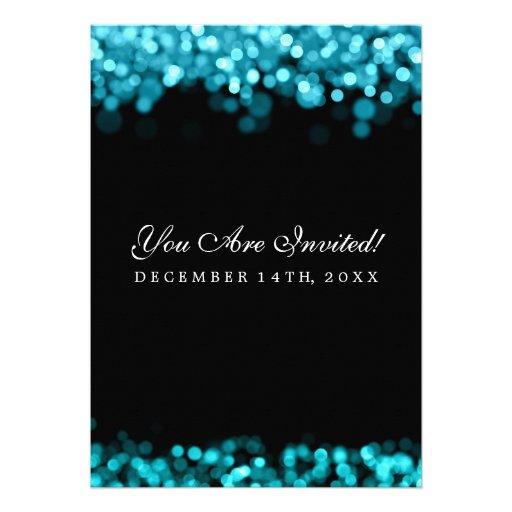 Elegant Wedding Turquoise Lights Invitation (back side)
