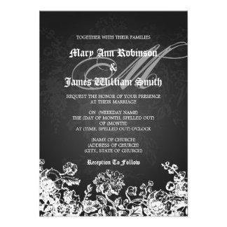 Elegant Wedding Victorian Flourish Black Personalized Invitation