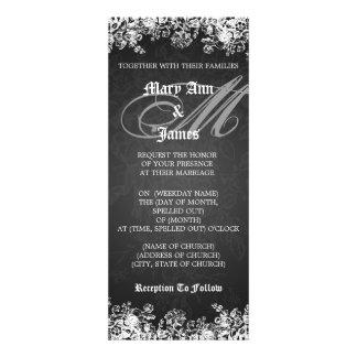 Elegant Wedding Victorian Flourish Black Invitation