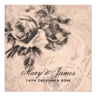 Elegant Wedding Vintage Roses Sepia Card