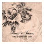 Elegant Wedding Vintage Roses Sepia Personalized Invites