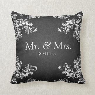 Elegant Wedding Vintage Swirls 2 Black Pillows