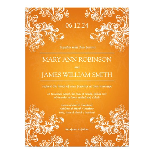 Elegant Wedding Vintage Swirls 2 Orange Custom Announcements