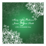 Elegant Wedding Vintage Swirls Green Card