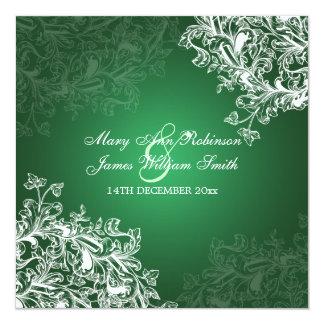 Elegant Wedding Vintage Swirls Green Card