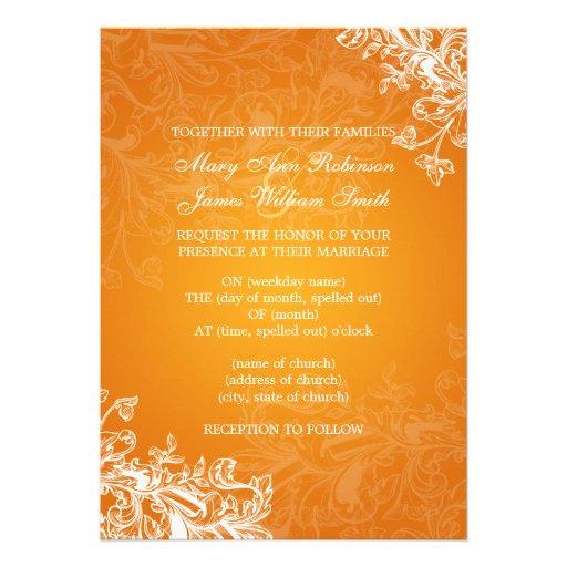 Elegant Wedding Vintage Swirls Orange Personalized Announcements