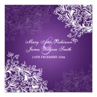 Elegant Wedding Vintage Swirls Purple Card