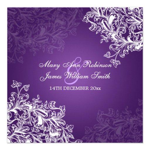 Elegant Wedding Vintage Swirls Purple Custom Invite